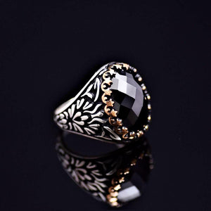 Exciting Silver Ring Adorned With Facet Cut Black Onyx Stone Left