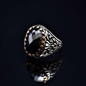 Exciting Silver Ring Adorned With Facet Cut Black Onyx Stone Right