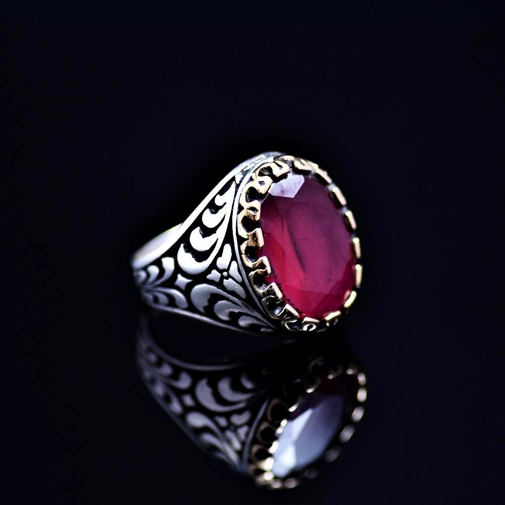 Expensive Looking Silver Ring Adorned With Lab Created Ruby Stone Left