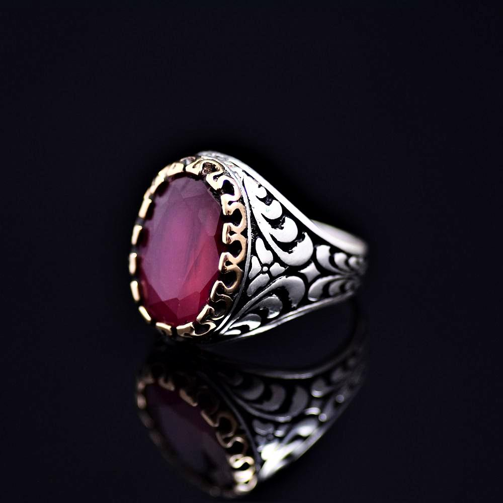 Expensive Looking Silver Ring Adorned With Lab Created Ruby Stone Right