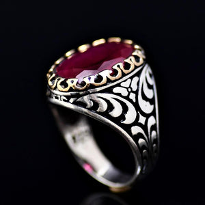 Expensive Looking Silver Ring Adorned With Lab Created Ruby Stone