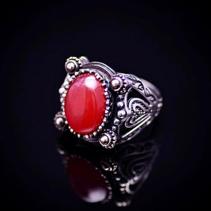 Extraordinary Design Silver Ring Adorned With Carnelian Stone Right