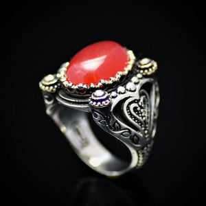 Extraordinary Design Silver Ring Adorned With Carnelian Stone