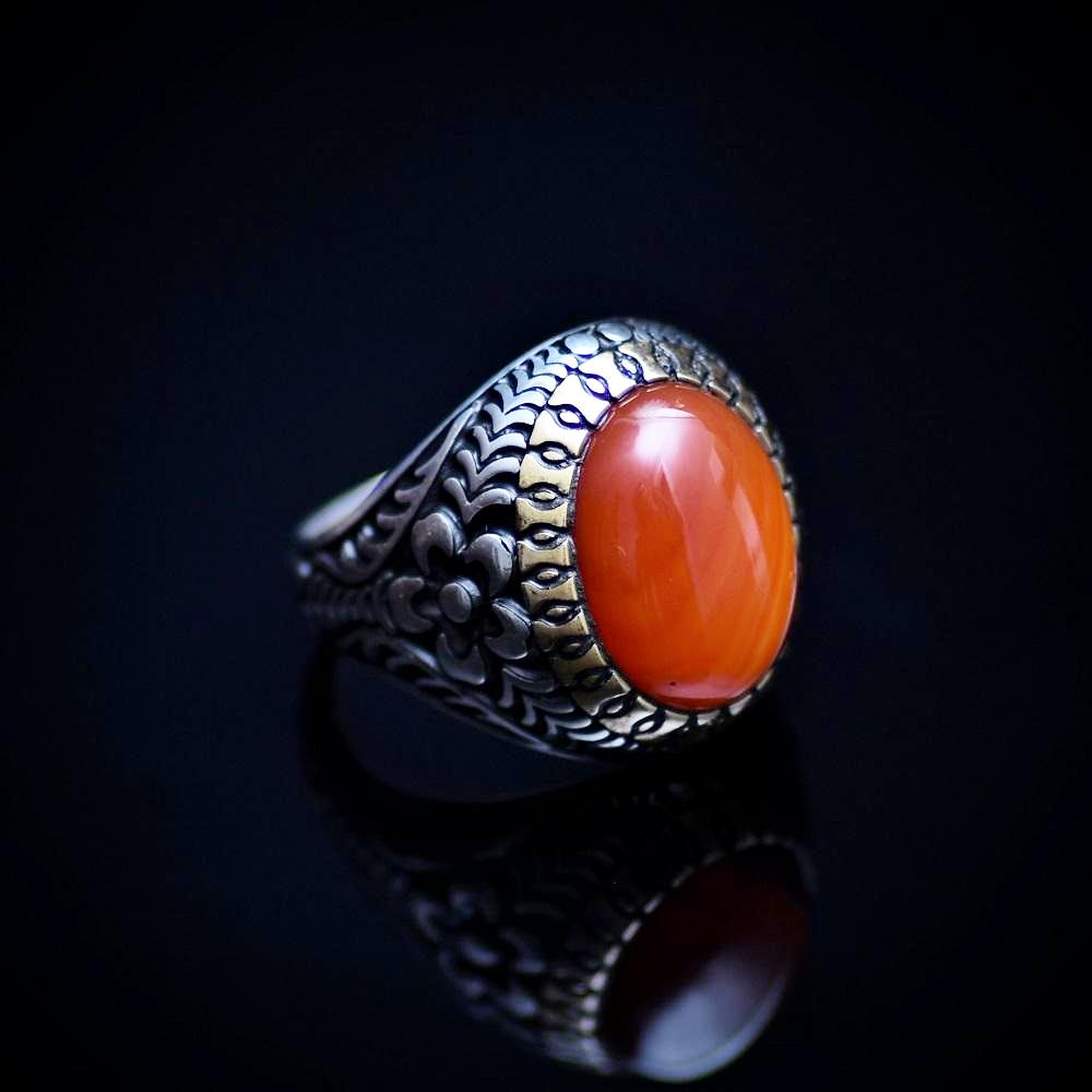 Eye Catching Silver Ring With Engraved Flower Motifs And Striped Agate Left