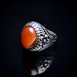 Eye Catching Silver Ring With Engraved Flower Motifs And Striped Agate Right