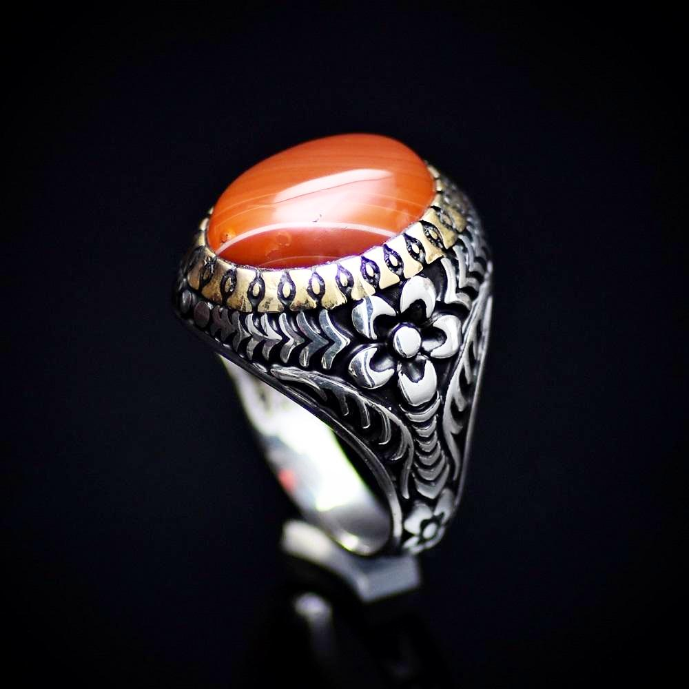 Eye Catching Silver Ring With Engraved Flower Motifs And Striped Agate