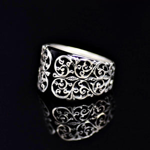 Finely Detailed Handmade Silver Ring Adorned With Black Onyx Stone Right