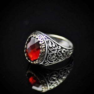 Finely Detailed Handmade Silver Ring With Garnet Stone Right