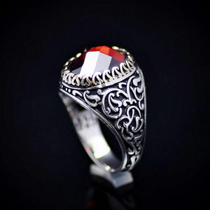 Finely Detailed Handmade Silver Ring With Garnet Stone