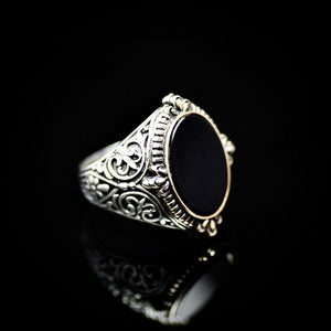 Finely Engraved Silver Ring With Black Onyx Stone Left