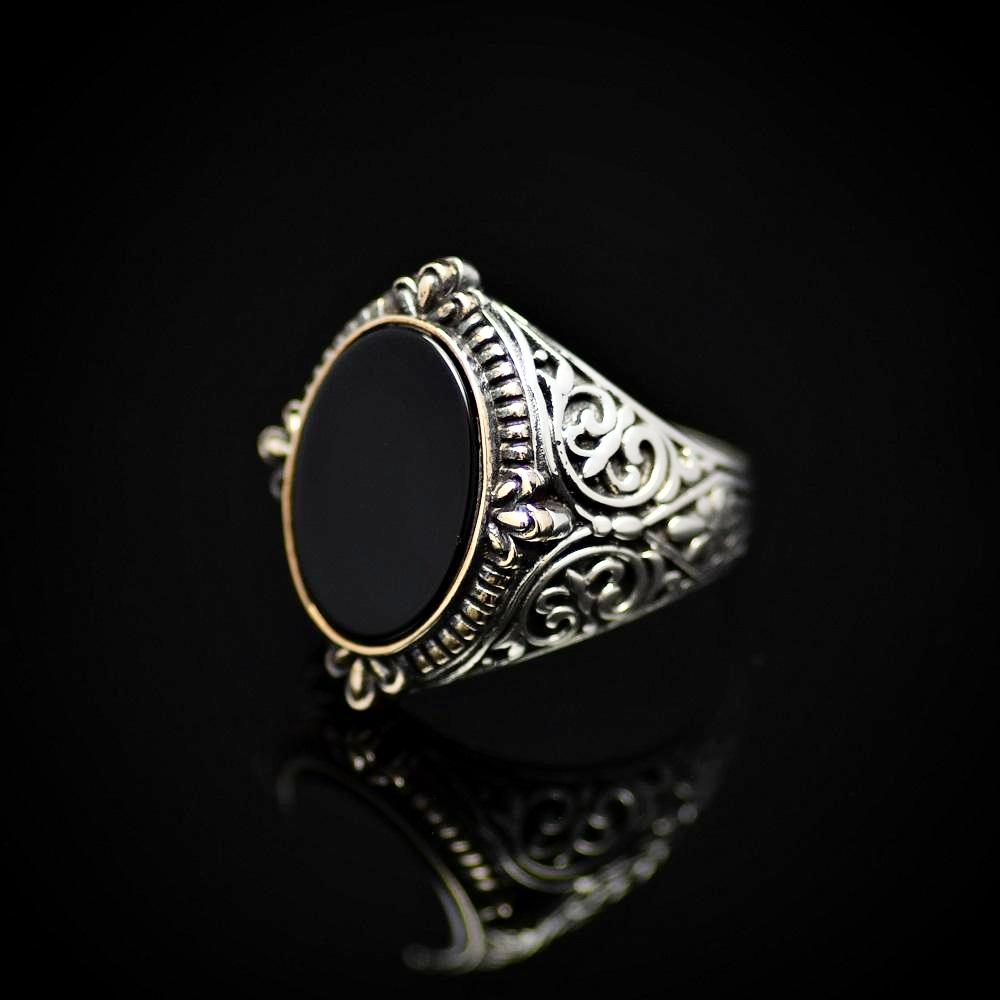 Finely Engraved Silver Ring With Black Onyx Stone Right