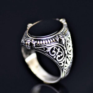 Finely Engraved Silver Ring With Black Onyx Stone
