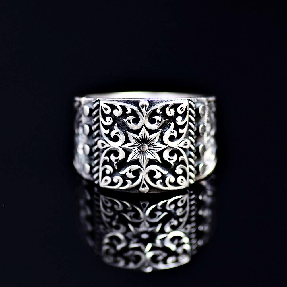 Finely Engraved Turkish Artisanal Silver Ring Front