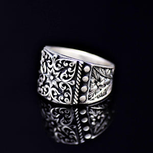 Finely Engraved Turkish Artisanal Silver Ring Right