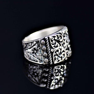 Finely Engraved Turkish Artisanal Silver Ring Left