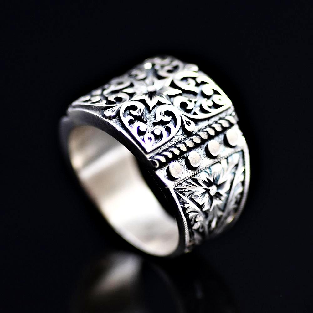 Finely Engraved Turkish Artisanal Silver Ring