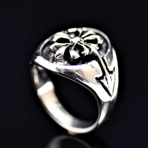 Fleur De Lis Patterned 925 Sterling Silver Ring