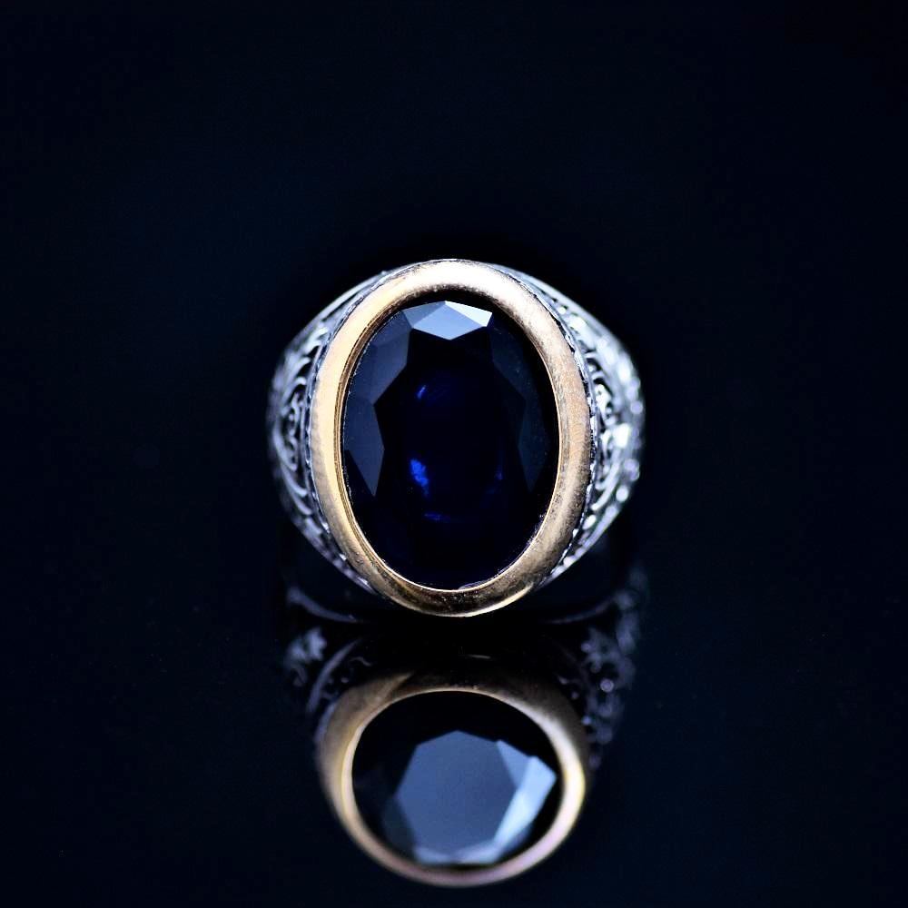 Floral Motifs Inlaid Silver Ring Adorned With Lab Created Sapphire Front