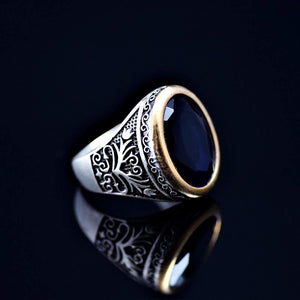 Floral Motifs Inlaid Silver Ring Adorned With Lab Created Sapphire Left
