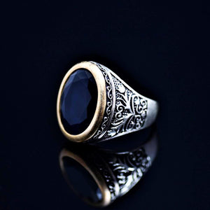 Floral Motifs Inlaid Silver Ring Adorned With Lab Created Sapphire Right
