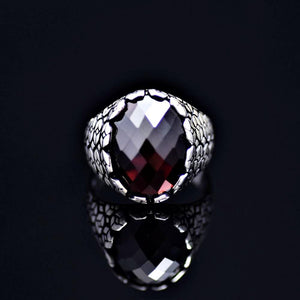 Geometric Shapes Designed Silver Ring Adorned With Garnet Stone Front