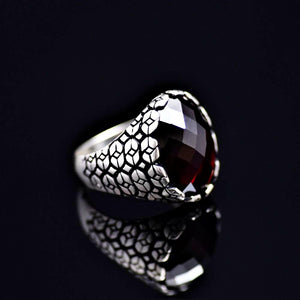 Geometric Shapes Designed Silver Ring Adorned With Garnet Stone Left