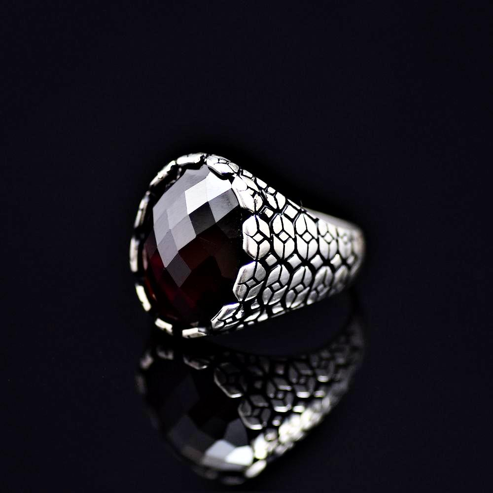 Geometric Shapes Designed Silver Ring Adorned With Garnet Stone Right