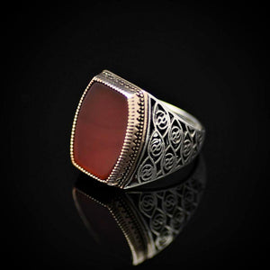 Glamorous 925 Sterling Silver Ring Embellished With Red Agate Stone Right