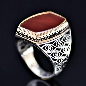 Glamorous 925 Sterling Silver Ring Embellished With Red Agate Stone