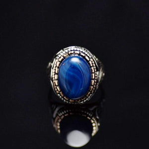 Gorgeous Hand Carved Silver Ring With Blue Agate Stone Front