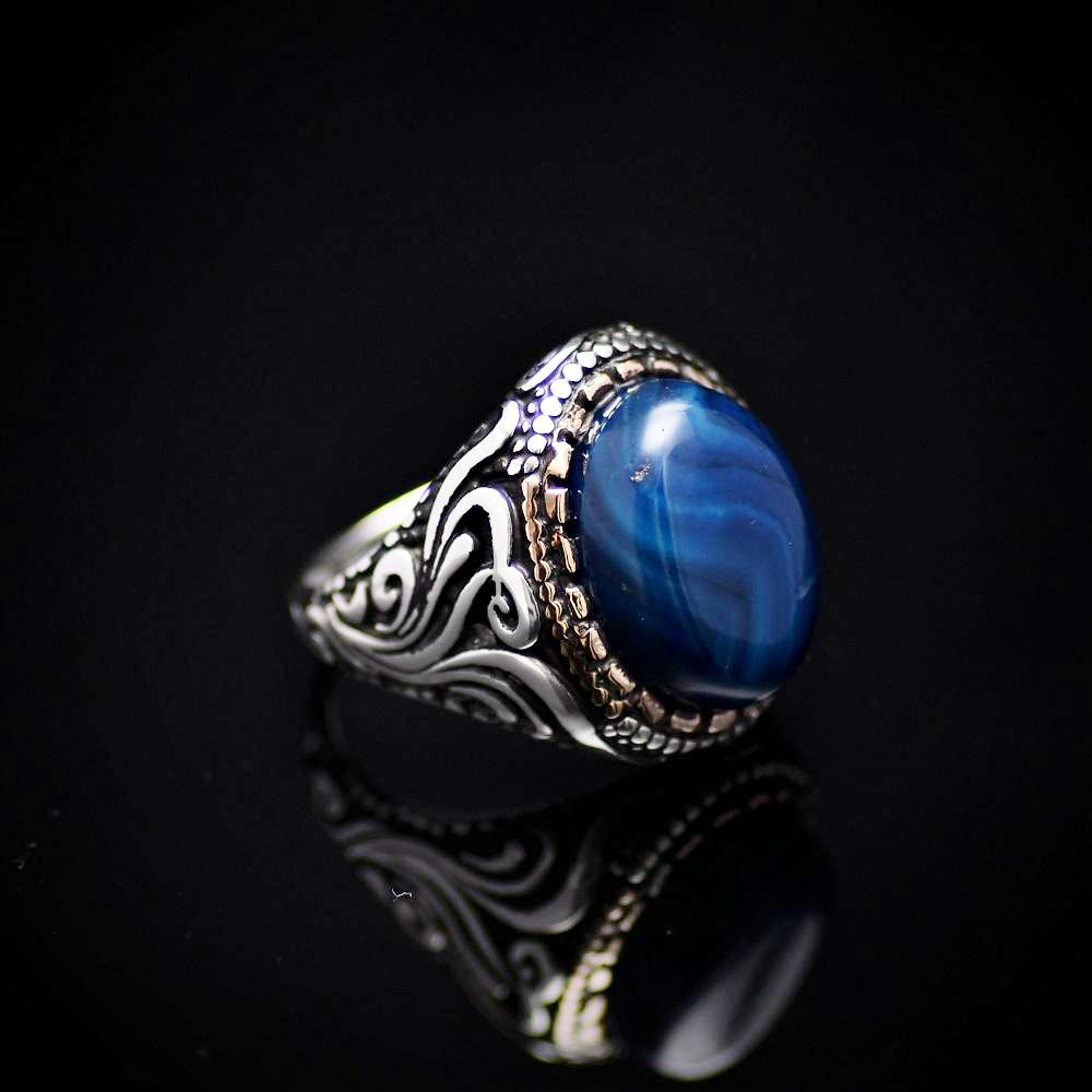 Gorgeous Hand Carved Silver Ring With Blue Agate Stone Left
