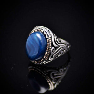 Gorgeous Hand Carved Silver Ring With Blue Agate Stone Right