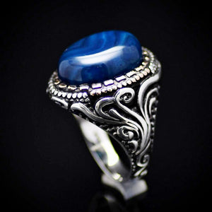 Gorgeous Hand Carved Silver Ring With Blue Agate Stone