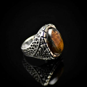 Gorgeous Silver Ring Embellished With A Big Tiger Eye Stone Left