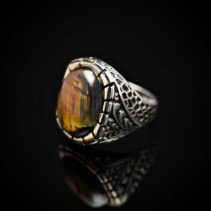 Gorgeous Silver Ring Embellished With A Big Tiger Eye Stone Right
