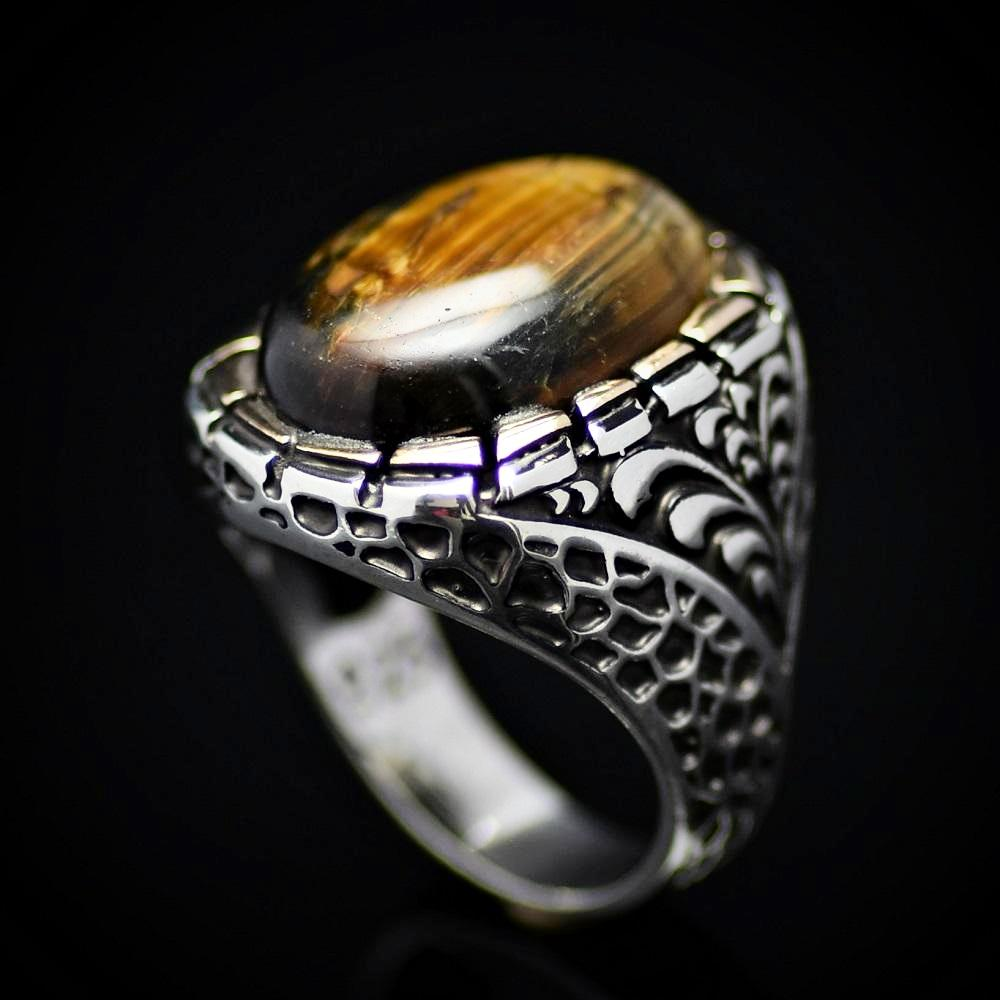 Gorgeous Silver Ring Embellished With A Big Tiger Eye Stone