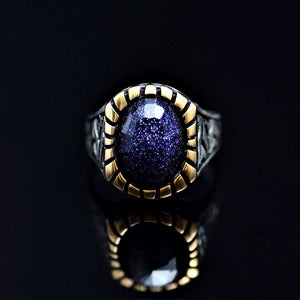 Gracious 925 Sterling Silver Ring Adorned With Blue Sandstone Front