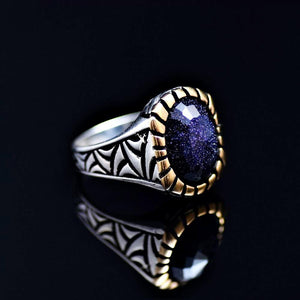 Gracious 925 Sterling Silver Ring Adorned With Blue Sandstone Left