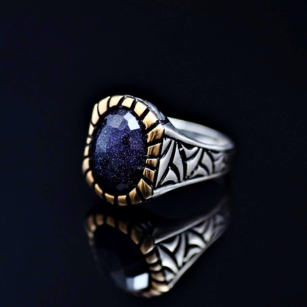Gracious 925 Sterling Silver Ring Adorned With Blue Sandstone Right