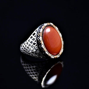 Hand Carved Silver Ring Adorned With Agate Stone Left