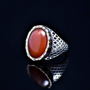 Hand Carved Silver Ring Adorned With Agate Stone Right
