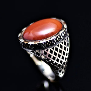 Hand Carved Silver Ring Adorned With Agate Stone