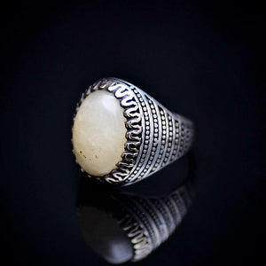 Hand Crafted Silver Ring Adorned With Natural Yellow Agate Right
