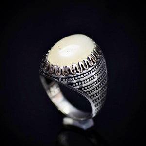 Hand Crafted Silver Ring Adorned With Natural Yellow Agate