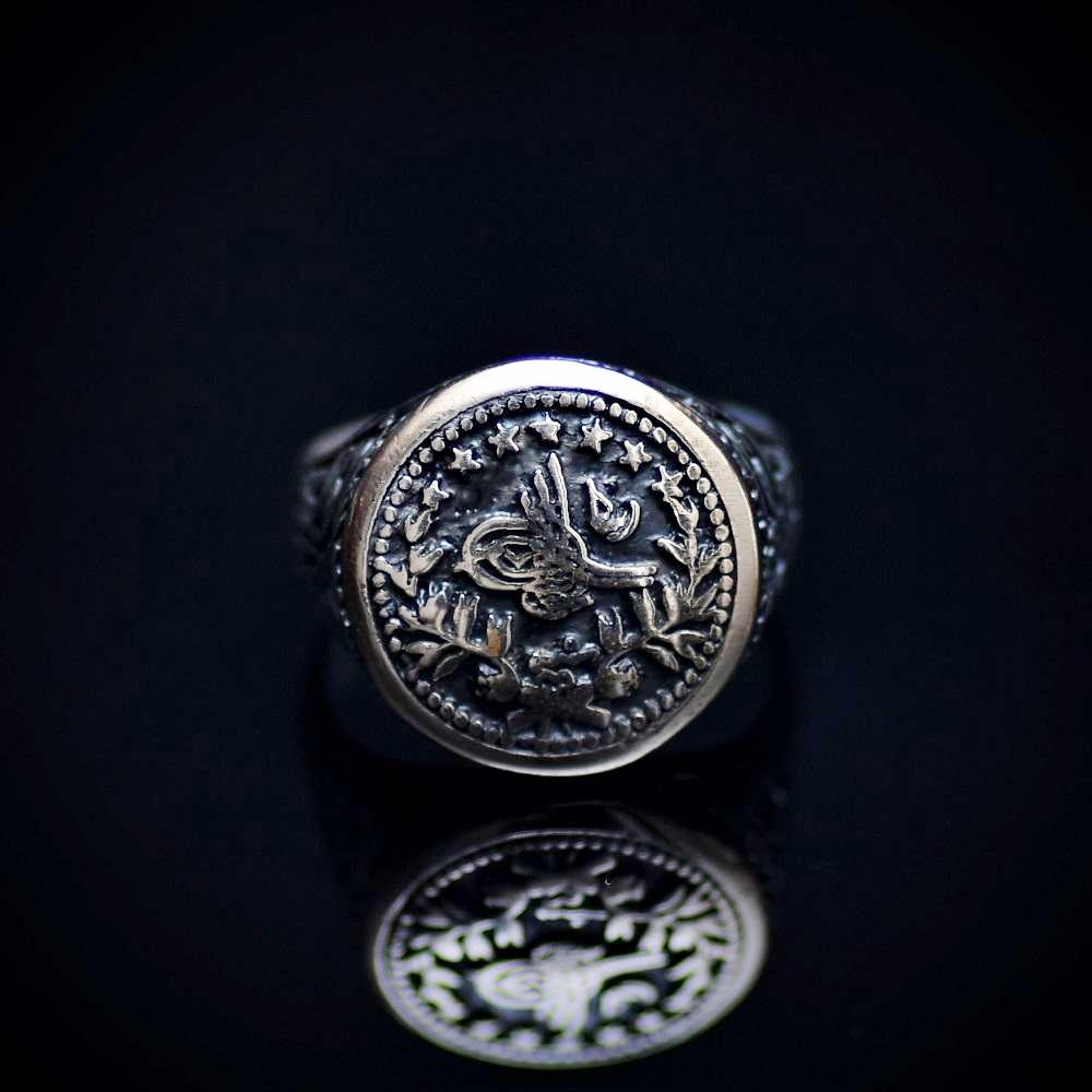 Handcrafted Silver Ring With Engraved Ottoman Empire Coin Front