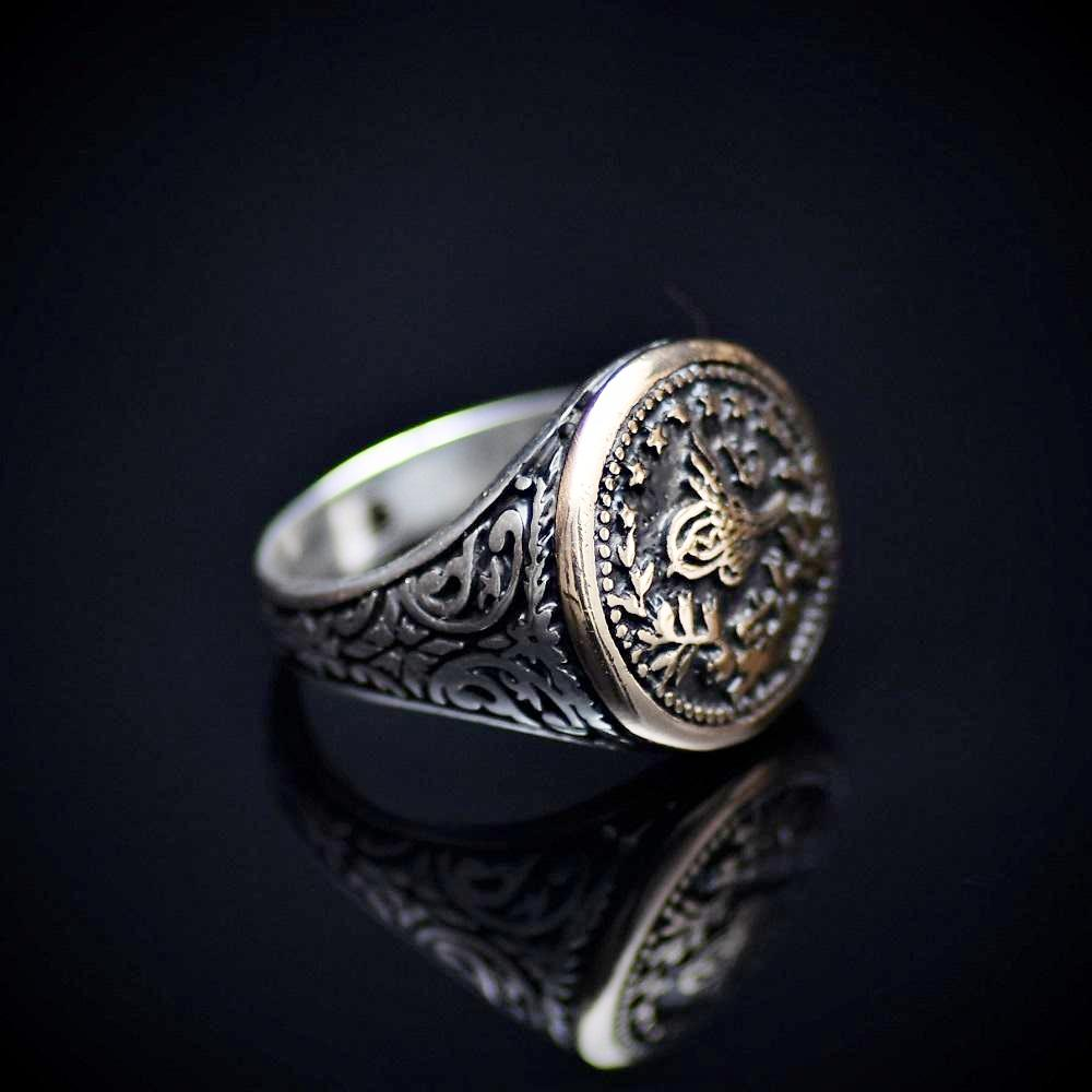 Handcrafted Silver Ring With Engraved Ottoman Empire Coin Left