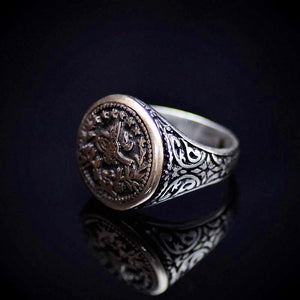 Handcrafted Silver Ring With Engraved Ottoman Empire Coin Right