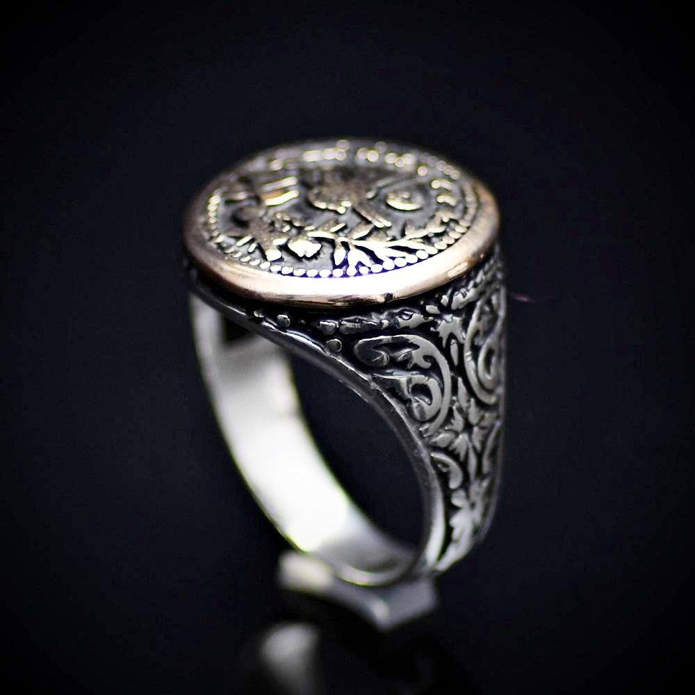 Handcrafted Silver Ring With Engraved Ottoman Empire Coin