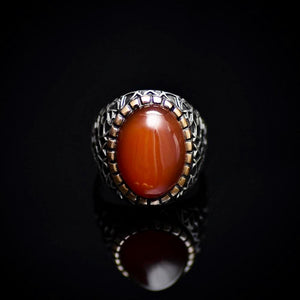 Handmade 925 Sterling Silver Ring With Red Agate Stone Front