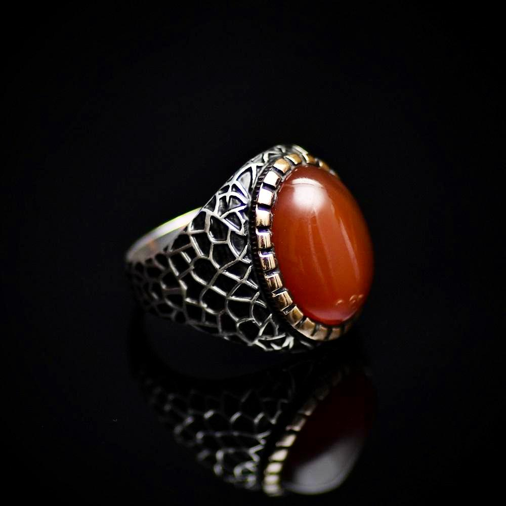 Handmade 925 Sterling Silver Ring With Red Agate Stone Left